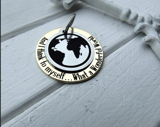 What A Wonderful World Key Chain, Customizable back side, custom keychains, personalized key chain, keychain for him, keychain for her, keys