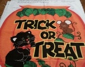 Vintage Glow in the Dark Halloween Bag Panel, Make Your Own Halloween Bag. Complete with Instructions on the Fabric. Cranston Prints