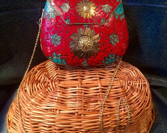 Coral and Turquoise Stone Side Bag