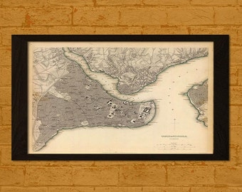 Old Map Constantinople Istanbul 1841 - Ancient Old Map Prints Historical Maps Antique Posters Old Design Print   Art Repro Gift Idea