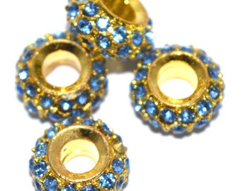 14mmx14mm Gold Plated Blue Rhinestone Pave