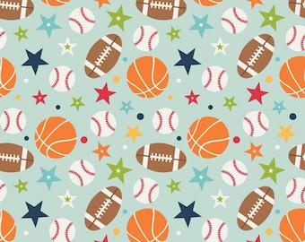 Playball Main Aqua - 1/2 Yard - Lori Whitlock for Riley Blake
