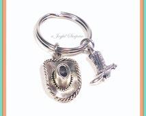 SALE - Cowboy Keychain, Cowgirl Key chain, Ranch Farmer Keyring, Gift for Farm Hand Gift, Cowboy Hat Cowboy Boot Charm Jewelry silver pewter