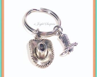 Cowboy Keychain, Cowgirl Key chain, Ranch Farmer Keyring, Gift for Farm Hand Cow boy Hat Cowboy Boot Charm Jewelry silver pewter split ring