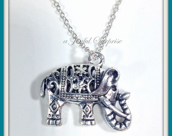 Elephant Necklace,  Carved Elephant Necklace, Tibetan Elephant Necklace can be personalized - N1136