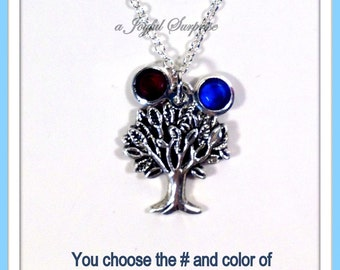 Grandmothers Necklace, Tree of Life Jewelry Silver Family Charm Gift for Mom Grandma Mother's Day Birthday Christmas Present birthstone 22