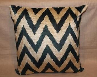 Black Ikat Velvet Chevron Pillow - 24'' x 24'' Ikat Pillows Black Chevron Pillow Black Pillow Decorative Throw Ikat Pillow Zigzag Pillow
