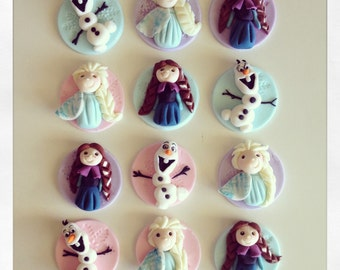 24 x  edible fondant frozen inspired cupcake Toppers elsa anna olaf letitgo