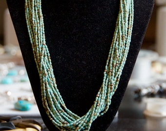 Fine Natural Turquoise Silver Necklace