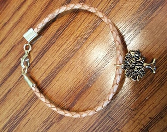 Brown Faux Leather Bracelet with Tree Charm