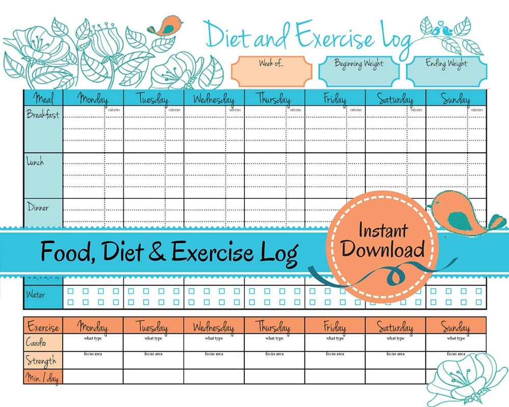 weight loss journal food diet exercise log by strivetosimplify
