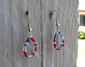 Blue, Silver & Red Earrings #2