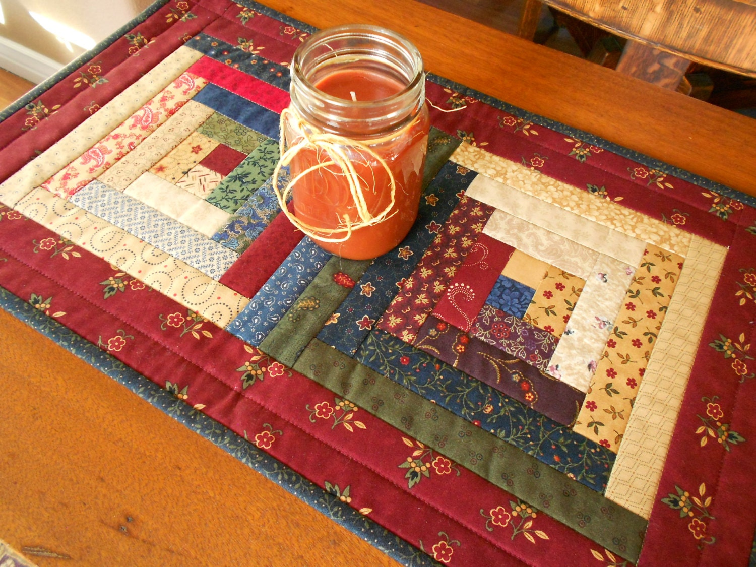 Quilted Log Cabin Table Runner Country Primitive Fabrics Of