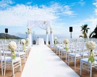 White velvet wedding aisle runner, non-slip, bridal, ceremony, romantic, chic wedding decor