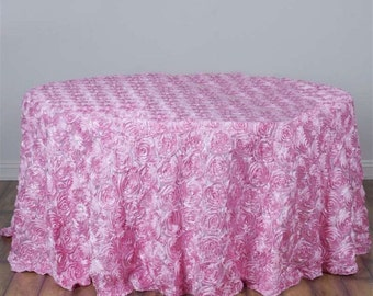 Easter decorations, HUGE SALE! Pink satin ribbon rosette tablecloth, table runner, table overlay, wedding tablecloth, diff colors avail