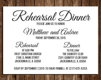 "Printable Rehearsal Dinner Invitations / Simple Invites/ 5""x7"""