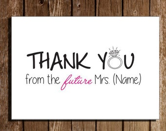 "Printable Bridal Shower Thank You Cards/ 3.5"" x 5"""