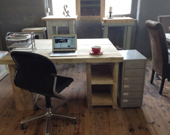 Amazing rustic double pedestal back to back double desk/work station