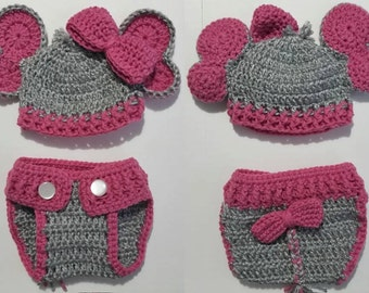 new born elephnt hat and  diaper cover