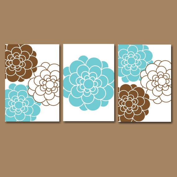teal brown bedroom wall artblue brown floral by sweetbloomsdecor. Black Bedroom Furniture Sets. Home Design Ideas