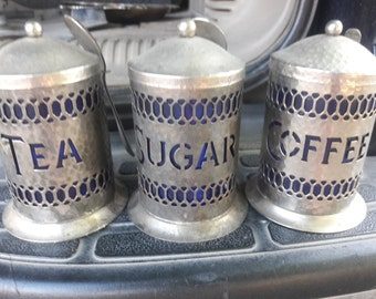 3 Piece Silver Plated Canister set with Cobalt Blue interior