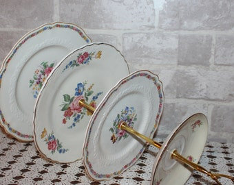 4 tier cake stand  Mismatched china, 4 tier dessert stand, tidbit tray, fruit stand, pastry stand, cookie stand, wedding centerpiece