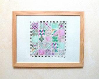 Original Watercolour green, purple and charcoal tiles