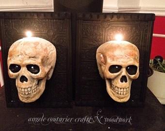 Halloween skull pictures sconces frames goth skulls