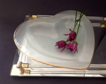 Vintage Modernist Heart Dish - Cookie Plate - Art Glass - Hand Signed Annie Glass