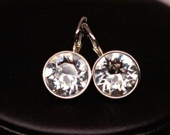Swarovski Crystal Earrings, Round Crystal Earrings, Bridal Earrings, Bridesmaid Earrings,  Clear Swarovski Earrings, Wedding Earrings