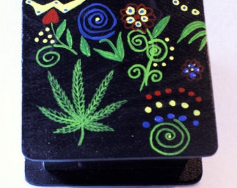 "420 friendly/artwork/Hand acrylic  painted wooden box, 4"" length, 4"" width, 2"" height."