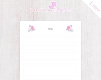 Letter Notes Insert Pastel Pink Flowers, Organizer Notes, planner insert, printable notes