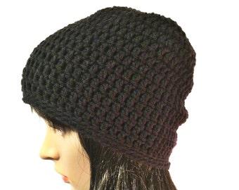 Black Beanie, Black Beanies, Black Beanie Hat, Black Slouchy Beanie, Slouchy Beanie, Black Crochet Hat, Black Winter Hat, THE RAINIER