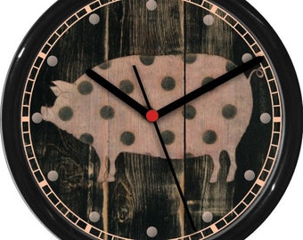 "Polka Dot Pig 10"" Personalized Kitchen Wall Clock"