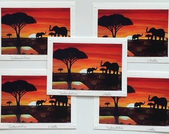 5 Art print cards of original acrylic painting / set of 5 cards / elephants in the sunset