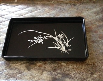 Stunning Japanese Lacquerware on Wood Rimmed Tray with an Inlay/Overlay Silver/Sterling Botanic Design of an Iris - Mid-Twentieth Century
