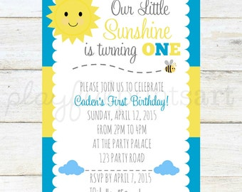 You Are My Sunshine Themed Invitation-Boy, 4x6 digital download