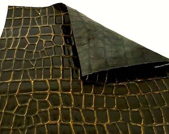 "Black Alligator Embossed Leather / Bronze Leather / Black Bronze Embossed Leather / Black Croco Embossed / Embossed Leather / 12.5"" x 12.5"""