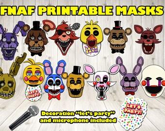 Five Nights at Freddy's masks (13 mask+2 decoration),Five Nights at Freddy's photo booth prop, 5 nights at Freddy's Print.FNAF mask prop set