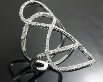 Full finger sterling silver party ring