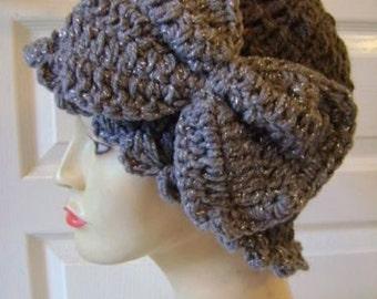 Vintage hat, beanie, flapper, cloche, ladies hat, Grey hat, 1920s hat, crochet, bow