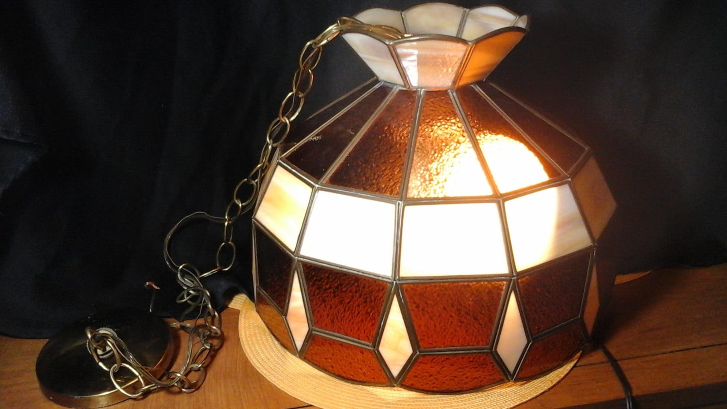 70s light fixture stained glass light fixture by hillsidehomearts. Black Bedroom Furniture Sets. Home Design Ideas