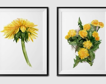 Watercolor flower print - dandelion print.dandelion wall art.dandelion watercolor.printable watercolor