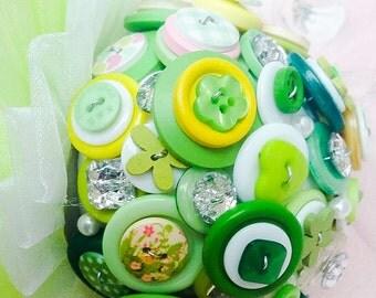 Wedding Button Bouquet -Green Meadow