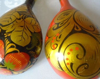 Two hand painted Russian spoons