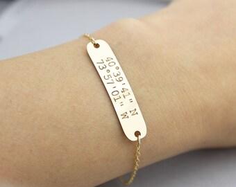 Dainty Personalized gold filled Large Bracelet, Coordinates Bracelet, Initial Bracelet, Nameplate Bracelet, Holiday gift, Bridesmaid Gift