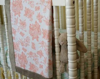 Coral Floral Minky Baby Blanket