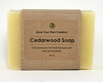 Organic Soap: Cedarwood Soap || Cold Process Soap || Mens Soap || Vegan Soap || All Natural Soap || Palm Free Soap || Mens Gift Soap