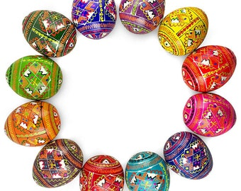 "2.5"" 12 Ukrainian Geometric Design Wooden Pysanky Ukrainian Easter Eggs- SKU # gs-096"
