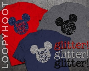 "Glitter Disney Shirts ""Best Day Ever"" Mouse for Family Vacation in Navy, Red or Gray - Disney World, Disneyland, Cruise, Park"